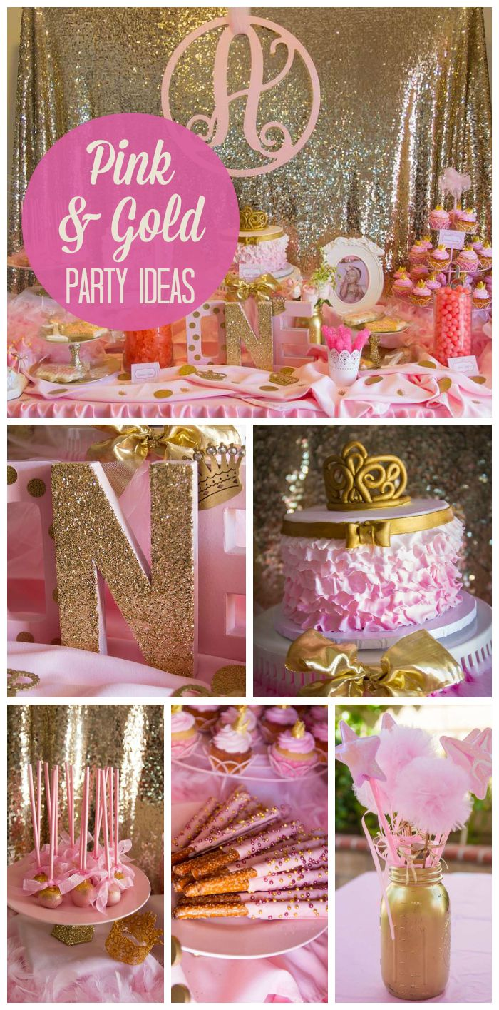 Pink And Gold Birthday Aubrey S Pink And Gold 1st Birthday Catch My Party Gold Theme Party Pink Gold Party Gold Party