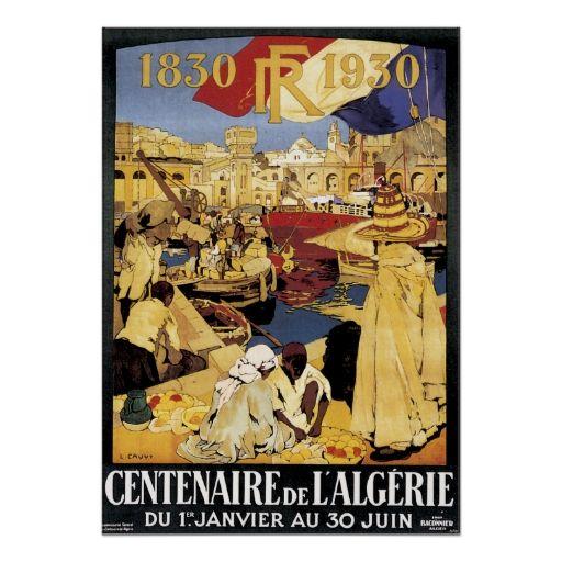 Vintage Algeria Travel Poster Art