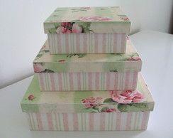 Trio de Caixas de MDF Florais