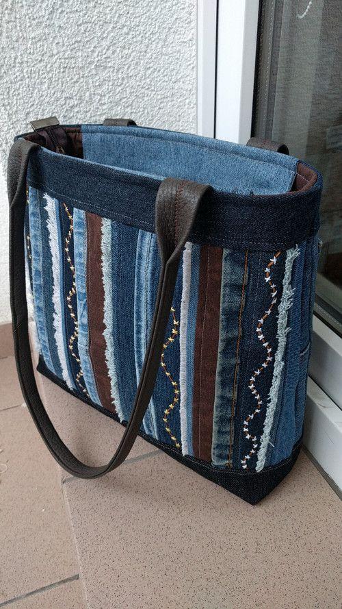 566b9ae1f2 Riflová kabelka s pruhy   Zboží prodejce H.Ž.- tvorba