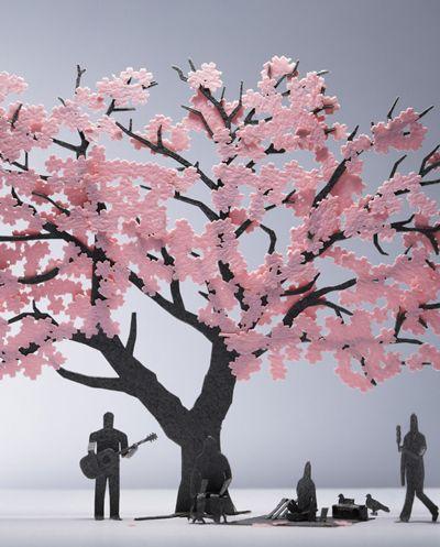 1 100 Architectural Model Accessories Series No 11 Cherry Blossom Paper Art Art Paper Crafts