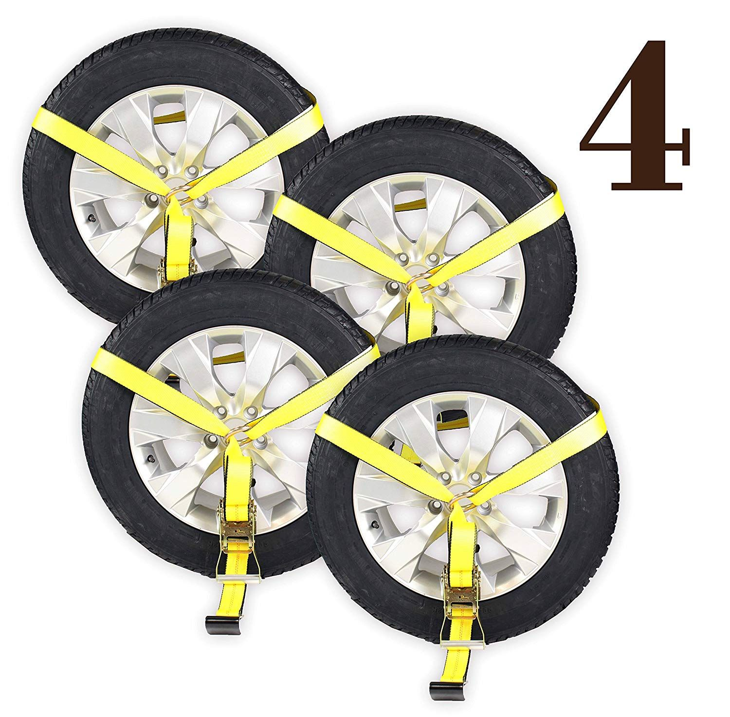 Dc Cargo Mall 4 Side Mount Wheel Nets With Flat Hook And Ratchet 4 Pack Car Wheel Lasso Straps For Auto Hauling Click On The Im Packing Car Car Wheel Car