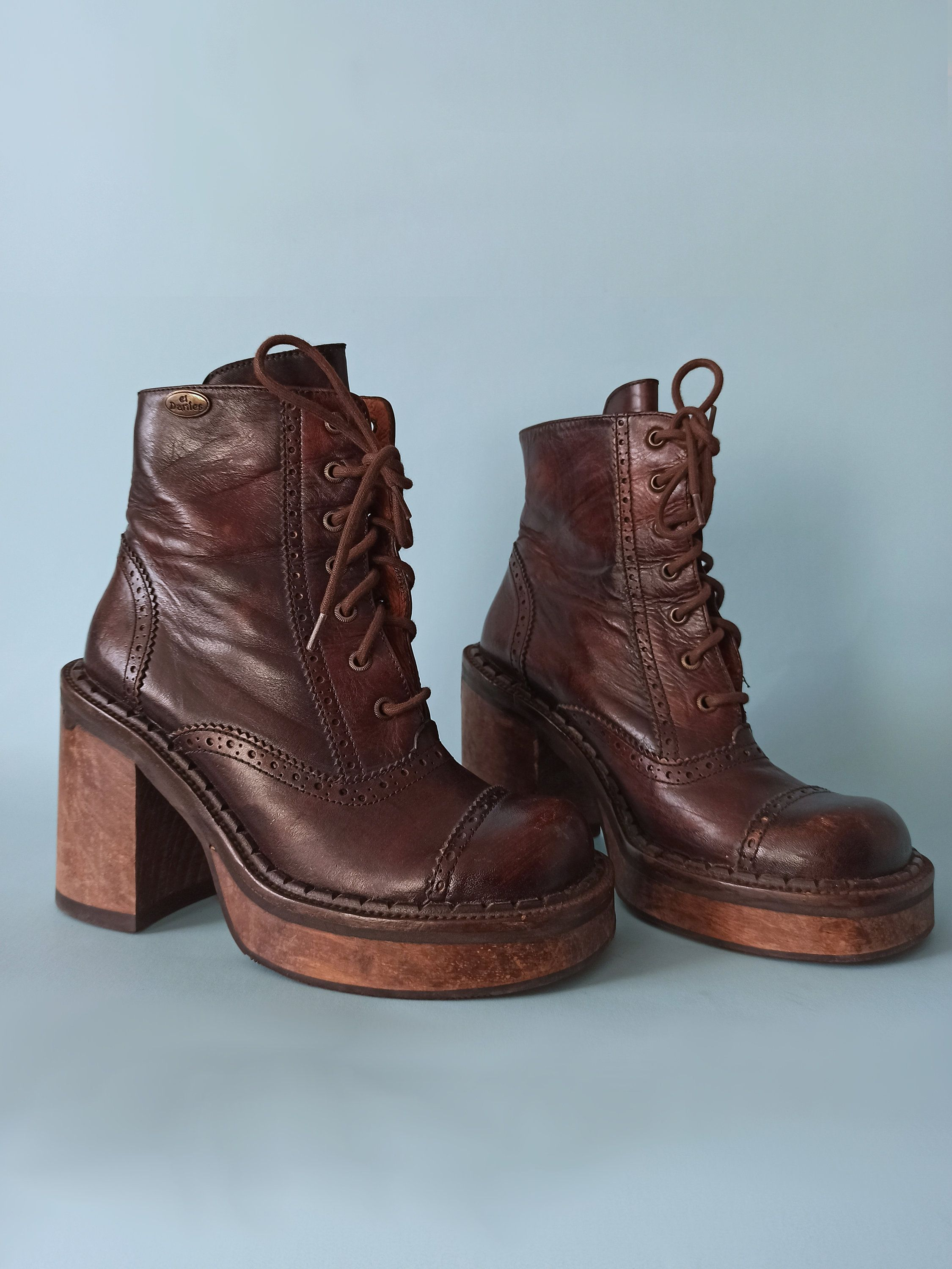 Vintage El Dantes Platform Boots With Shoelaces 70s Inspired Sz 37e 38c Eu Made In Spain Leather Boots Shoe Laces Platform Boots