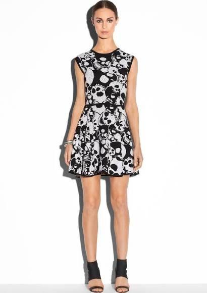 MILLY SKULLS JACQUARD FLARE DRESS - BLACK/ WHITE - P $295.00 from Milly NY
