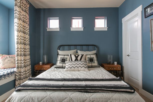 Cozy Bedroom Slate Blue Walls Clerestory Windows Above Bed Square Black And White Bedding Window Seat Benjamin Moore Phillipsburg