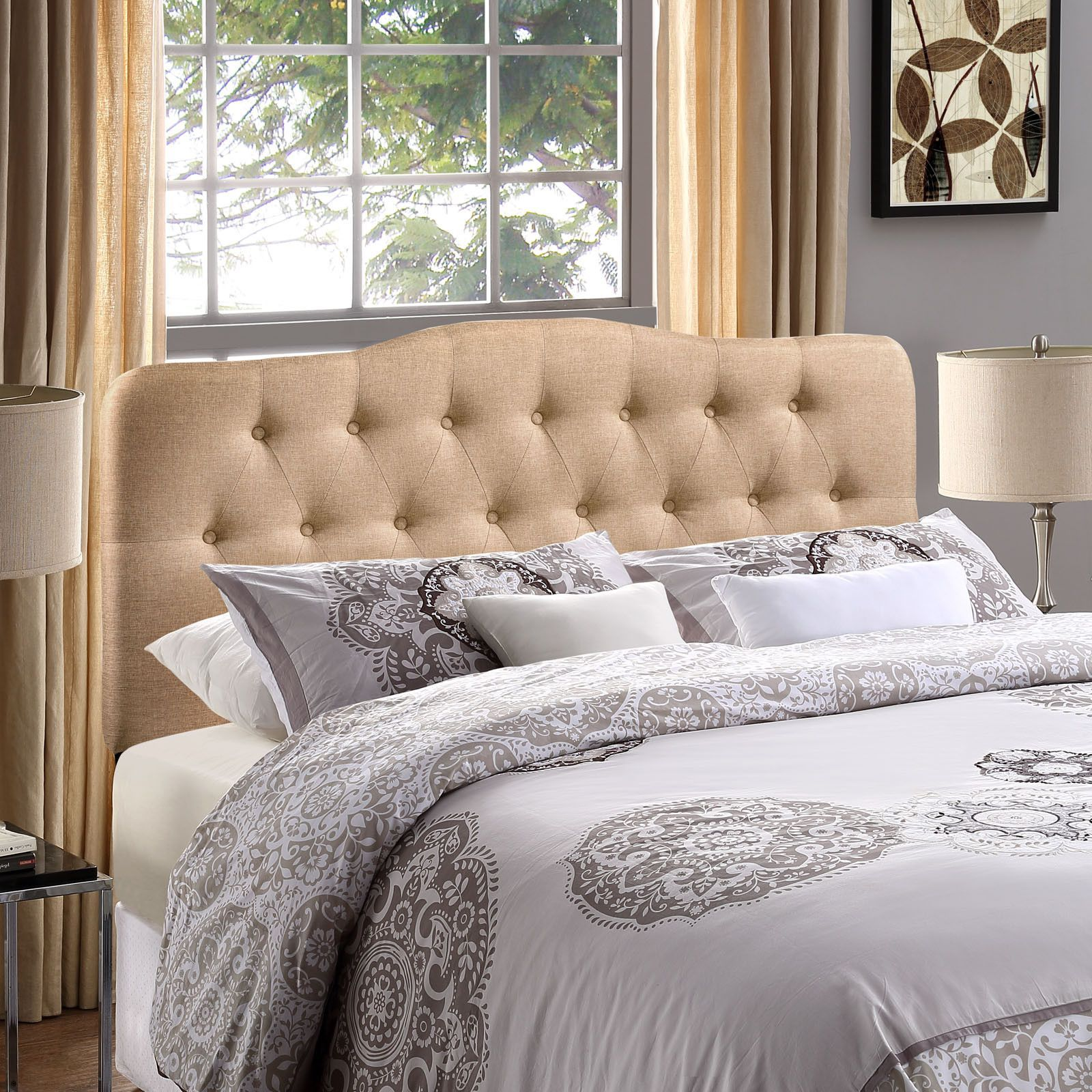 Modern Upholstered, Button Tufted, Arched Padded Fabric