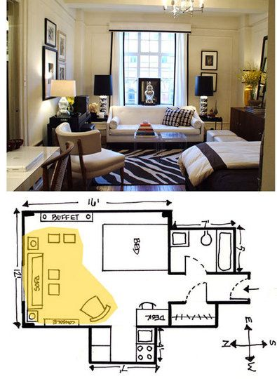 Small space seating arrangements furniture small for Studio apartment floor plans furniture layout