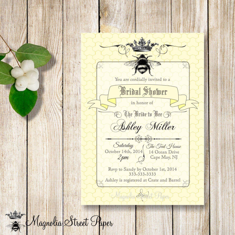 Bee Bridal Shower Invitation, Bride to Bee Bridal Shower Invite ...