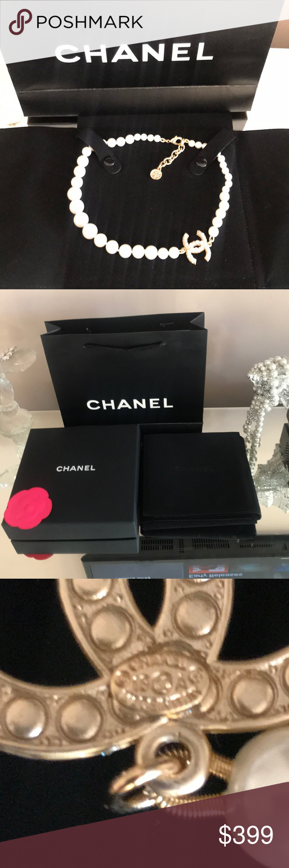 Chanel necklace large logo box bag pouch Amazing Chanel