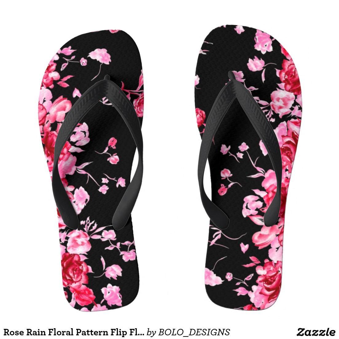 0b6c32a5a3a08 Rose Rain Floral Pattern Flip Flops