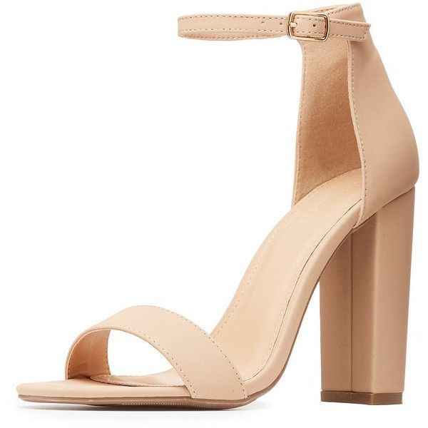 668032bf70f3 Charlotte Russe Two-Piece Chunky Block Heel Sandals ( 22) ❤ liked on  Polyvore