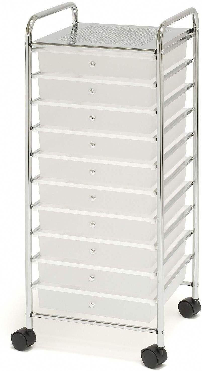 10 Drawer Organizer Cart White In 2020 Organization Cart Drawer Organisers Organize Drawers