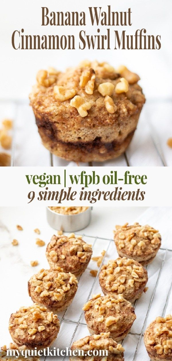 Vegan Banana Nut Cinnamon Swirl Muffins | My Quiet Kitchen