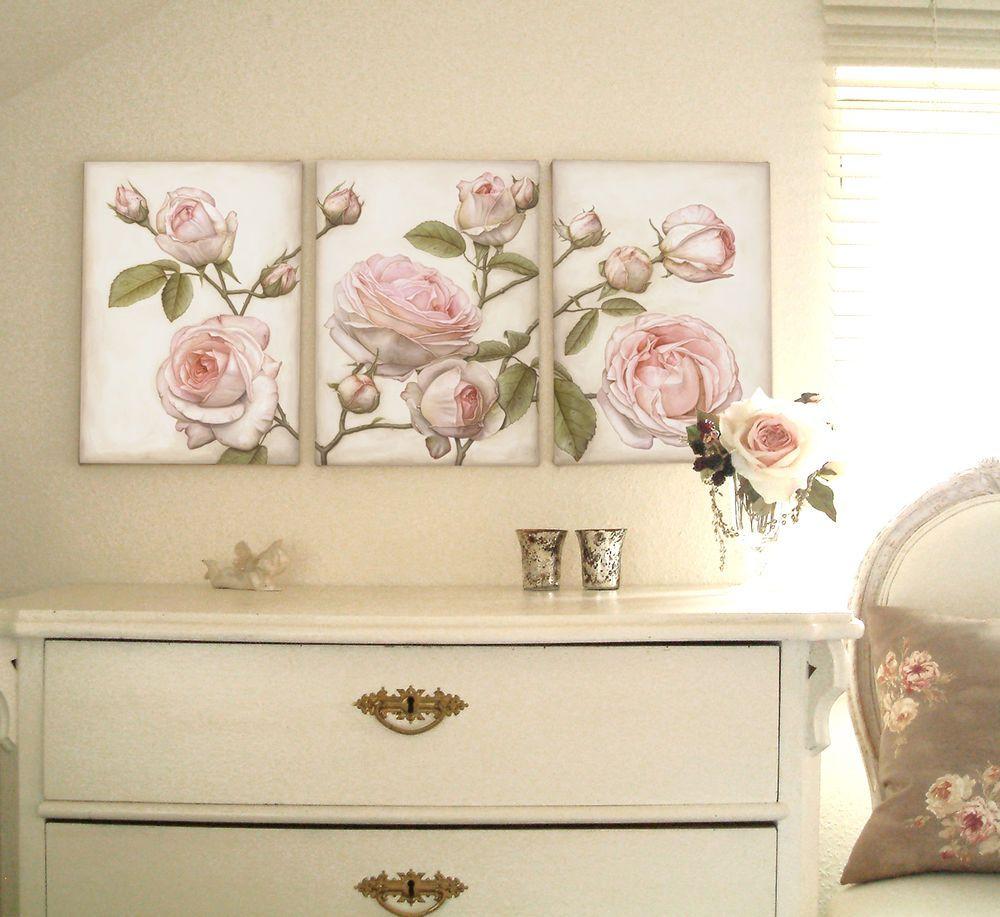 Vintage möbel weiss rosa  Shabby Chic Rosen Bild Gemälde creme weiß rosa 3 teilig Thomas ...