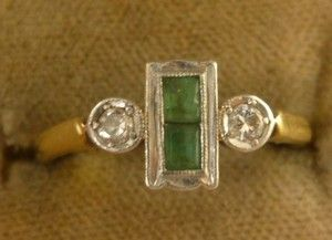 """ART DECO 18CT GOLD PLATINUM EMERALD & DIAMOND RING CIRCA 1920 """"Fully hallmarked stamped platinum and serial number 9692 Makers initials J.M It weighs 2.8 grams. The emeralds combined measure 3.5mm in width 6mm in length."""""""