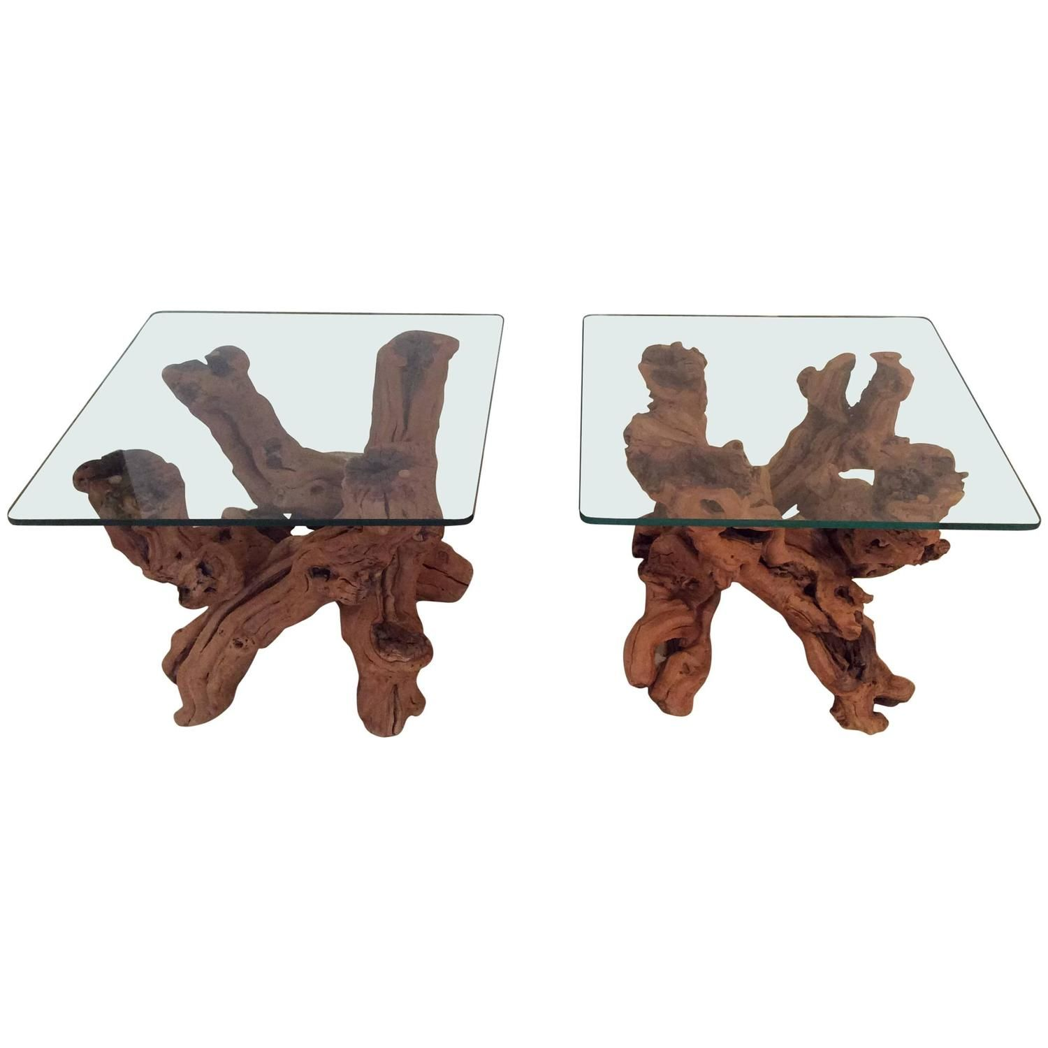 Driftwood Vintage Pair of Cypress Root End Side Tables Palm Beach