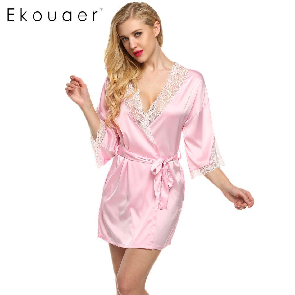 Ekouaer Bata de Dormir de Encaje Sexy Patchwork Satén Mujeres 3/4 de ...