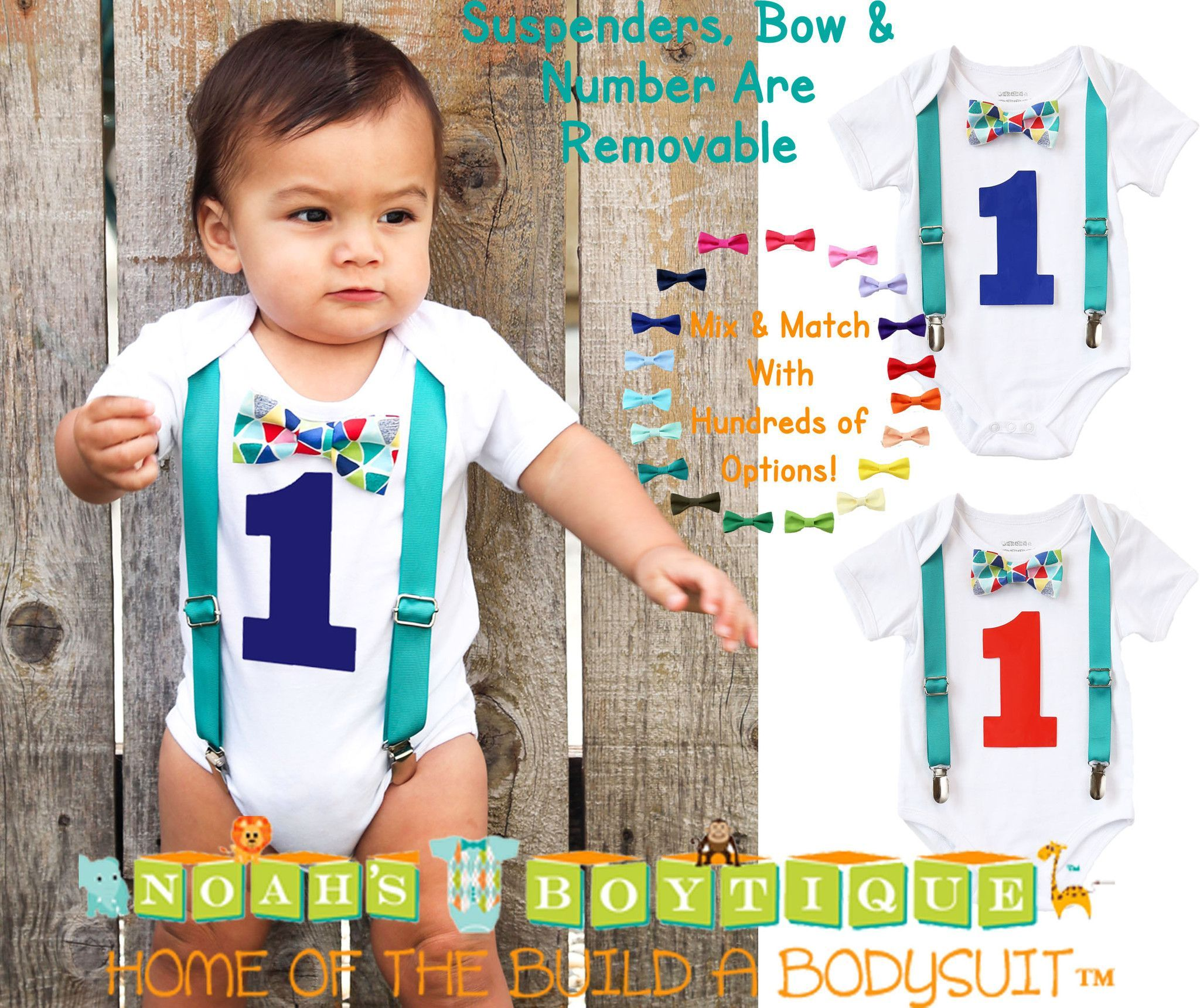 Teal Blue Red Baby Boy First Birthday Outfit Birthday Shirt Cute