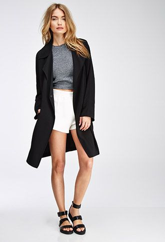 Draped-Collar Snap Button Jacket | Love21 - 2000054367