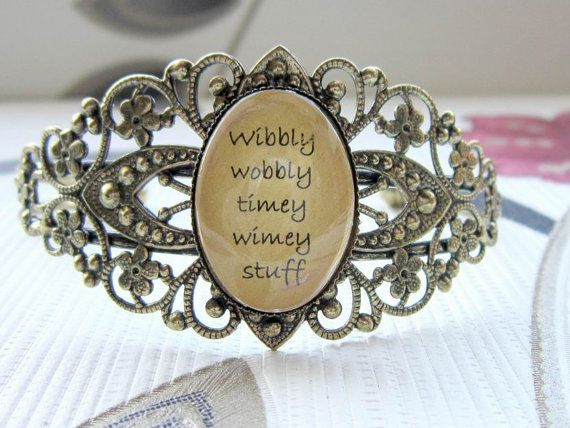 Favorite episode Great quote!  Doctor Who quote bronze filigree cuff  by dragonratjewellery, $15.99