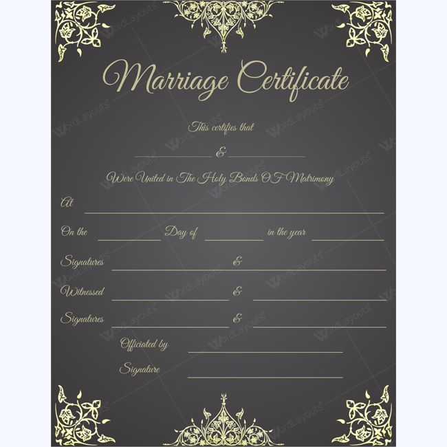 Wedding Certificate, Wedding