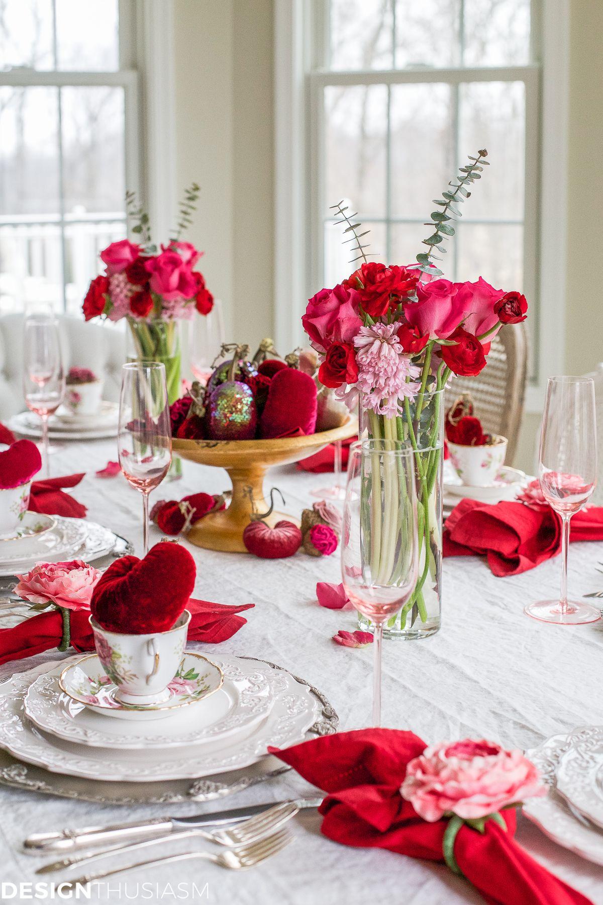 Valentine s Day Decorations Plush Velvet Hearts Tablescape