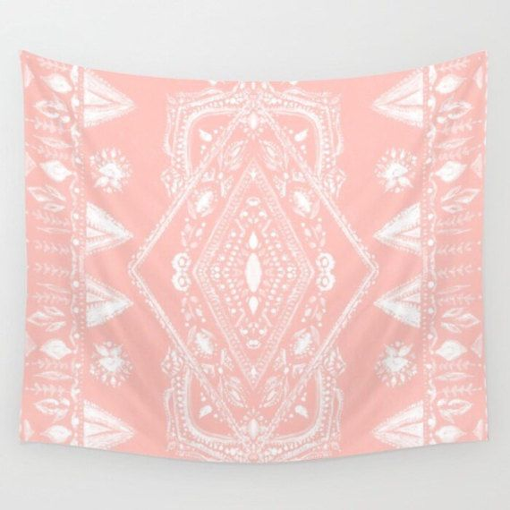 Pink Wall Tapestry pink bohemian wall tapestry pink wall tapestry blush pink | teen