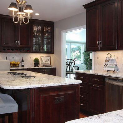 Kashmir White Granite Dark Cabinets Design Pictures Remodel Decor