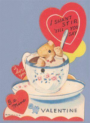 Schön Vintage Valentine TEDDY BEAR Tea Cup MECHANICAL