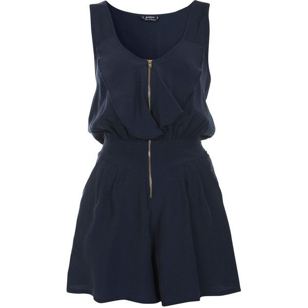 Miss Selfridge Petites Zip Front Romper (€32) ❤ liked on Polyvore featuring jumpsuits, rompers, dresses, vestidos, playsuits, navy, navy rompers, navy blue romper, playsuit romper and miss selfridge