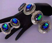 Schiaparelli Blue Purple Aqua Peacock Watermelon Rhinestone Bracelet & Earrings