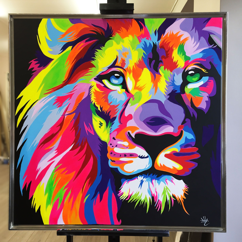 My Lion Acrylique Sur Toile 1m 1m Davebaranes Painting Art