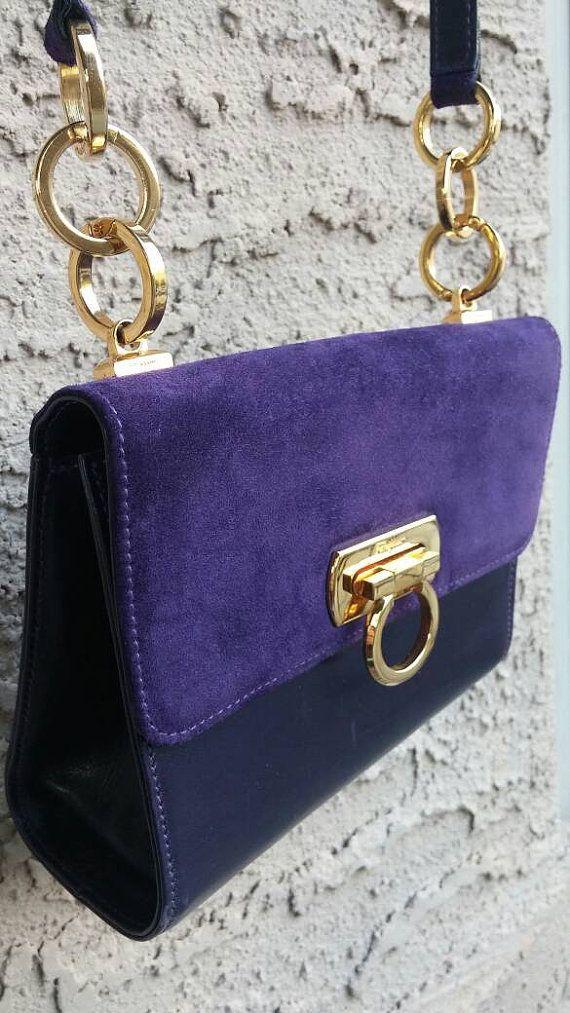 Authentic Salvatore Ferragamo Handbag Purple Leather Suede Purple Leather 645fbe7978067