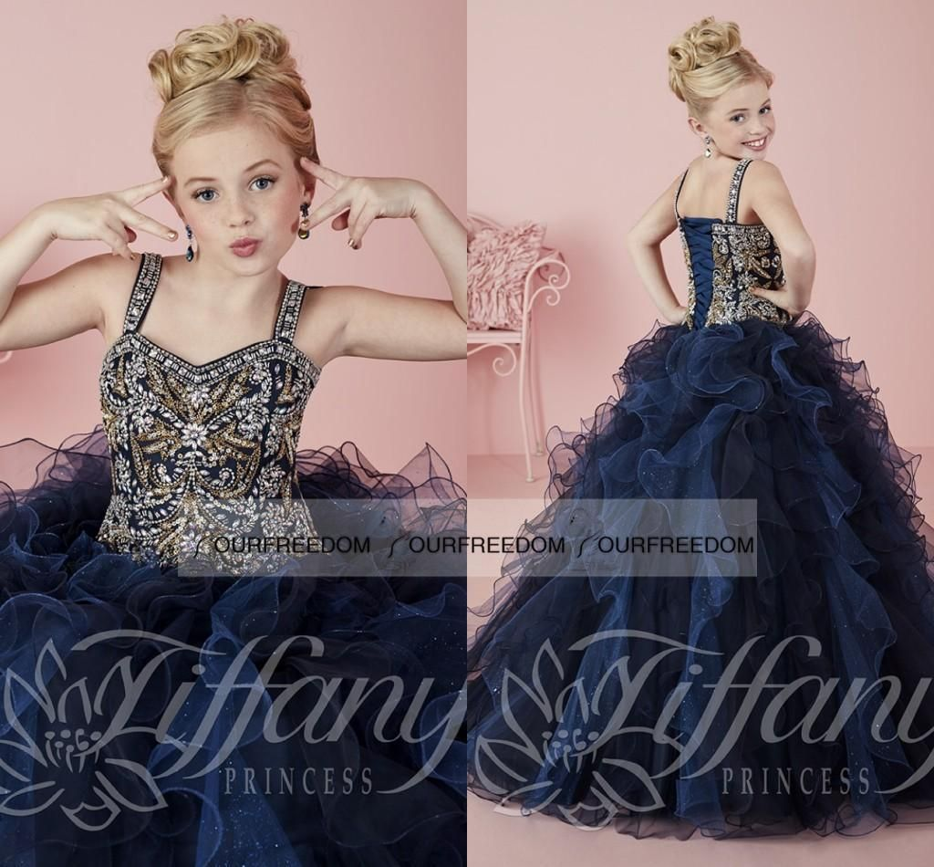 Princess 2016 Navy Kidss Formal Wear Beaded Crystals Girls Pageant