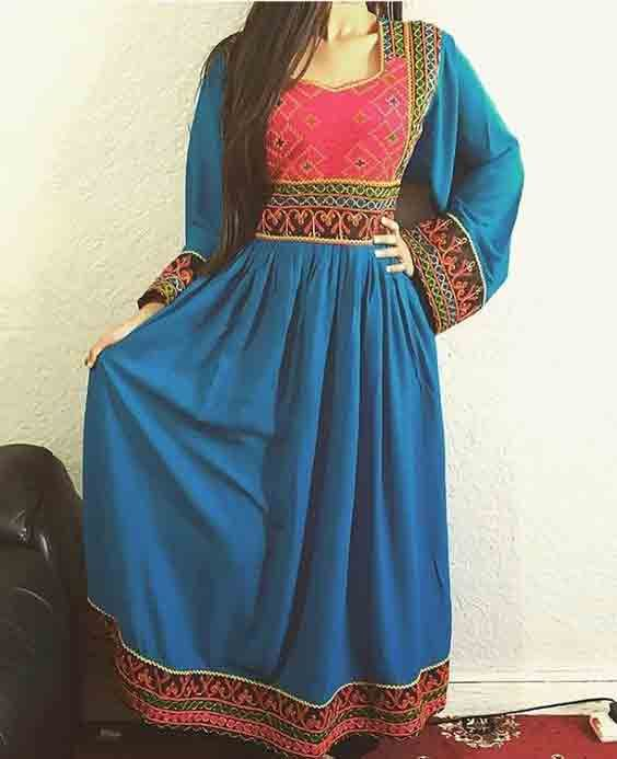 a80e8e28816 latest sky blue and pink pathani frock style dress designs 2017