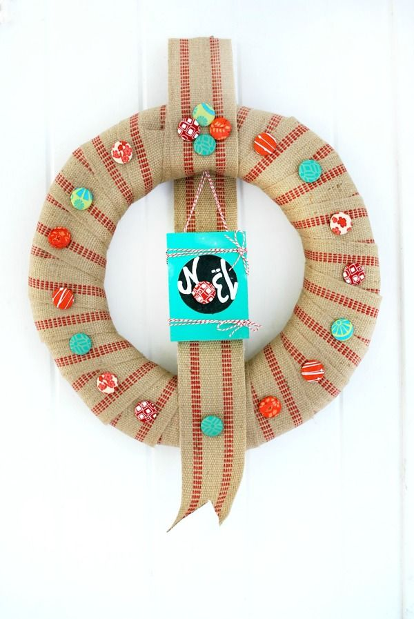 Here's how I made my Covered Button Christmas Wreath.