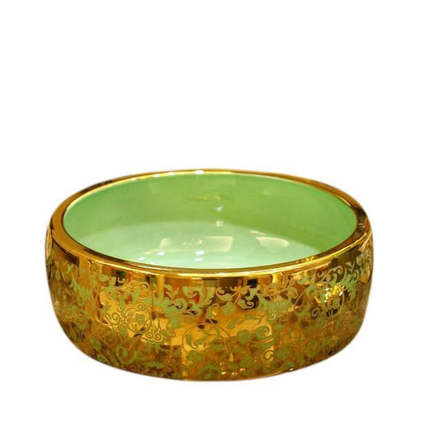 5colors Gold Flower Artistic Drum Shaped Ceramic Bathroom Sink