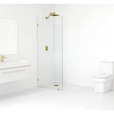 Glass Warehouse 28 5 In X 78 In Frameless Fixed Shower Door In Polished Brass Without Handle Gw Sfp 28 5 Pb The Home Depot Shower Doors Frameless Shower Doors Frameless Shower