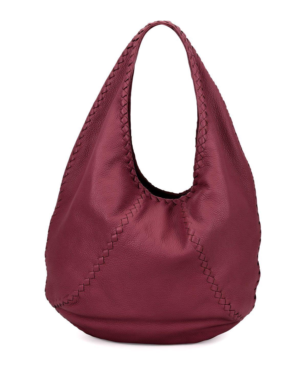 7f319c29c62 Cervo Large Leather Hobo Bag, Wine (Red), Women s, Size  L - Bottega ...