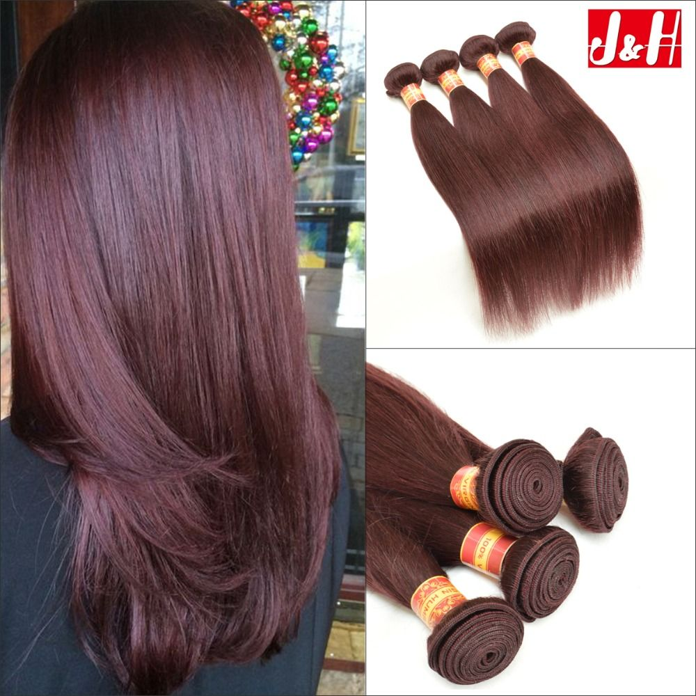 4pcslot Brazilian Human Hair Extensions Straight Red Wine Color