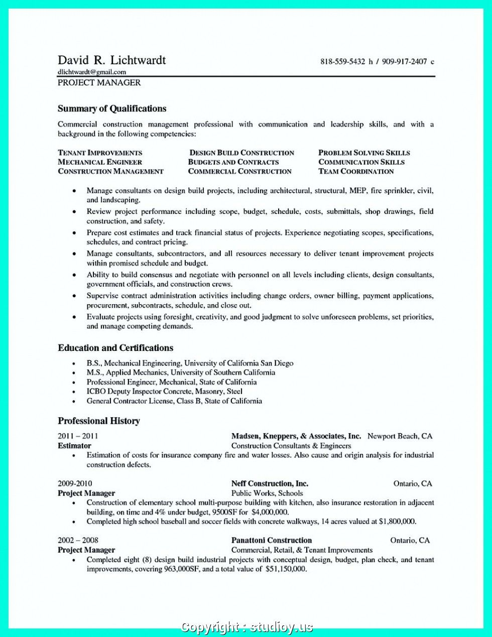 Resume Examples Qld Project manager resume, Resume