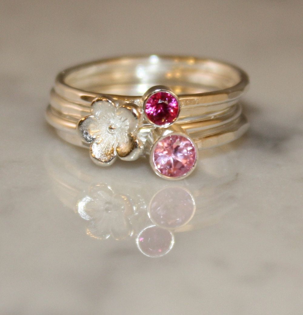 Stacking Rings Ruby and Pink Tourmaline with a Sterling Silver Cherry Blossom. $110.00, via Etsy.