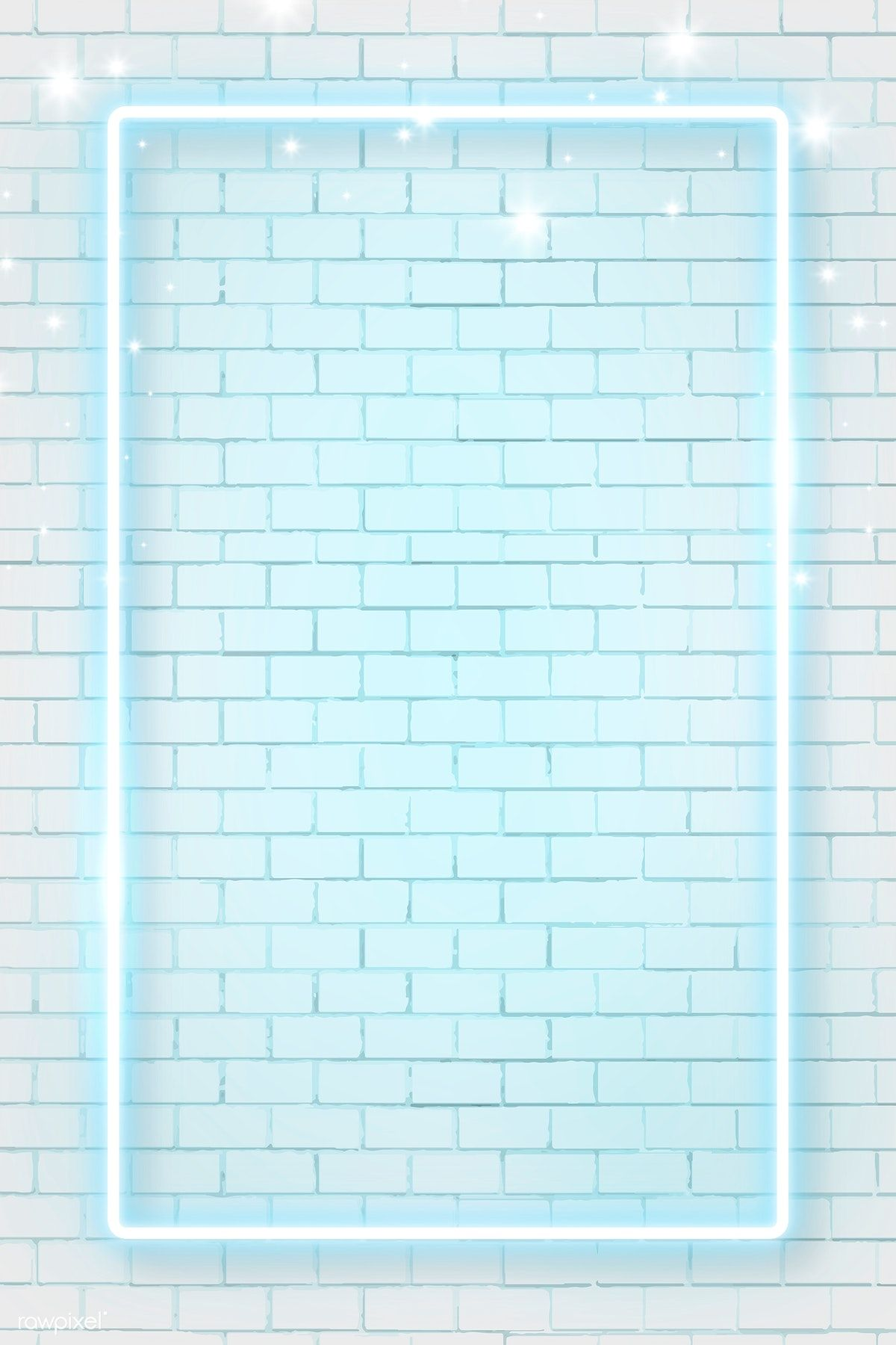 Download premium vector of Blue neon frame on brick wall background vector
