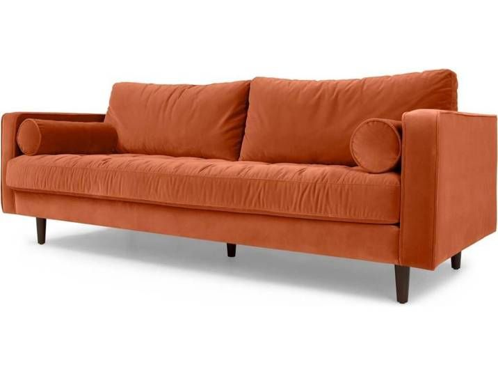 Scott 3 Sitzer Sofa Samt In Rostorange Orange Sofa 3 Seater Sofa Best Leather Sofa