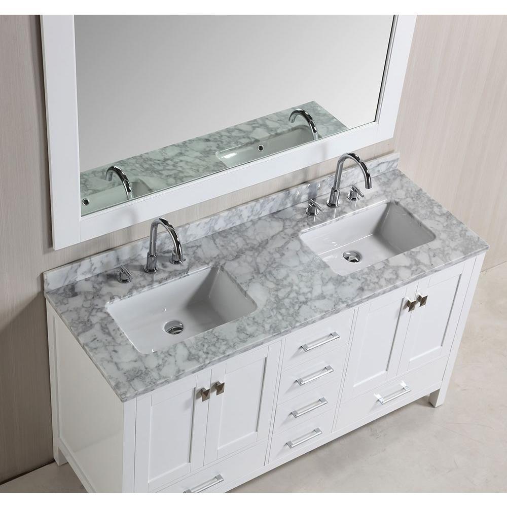 Design Element London 61 Inw X 22 Ind Double Vanity In White Fair Design Element Bathroom Vanity Design Decoration