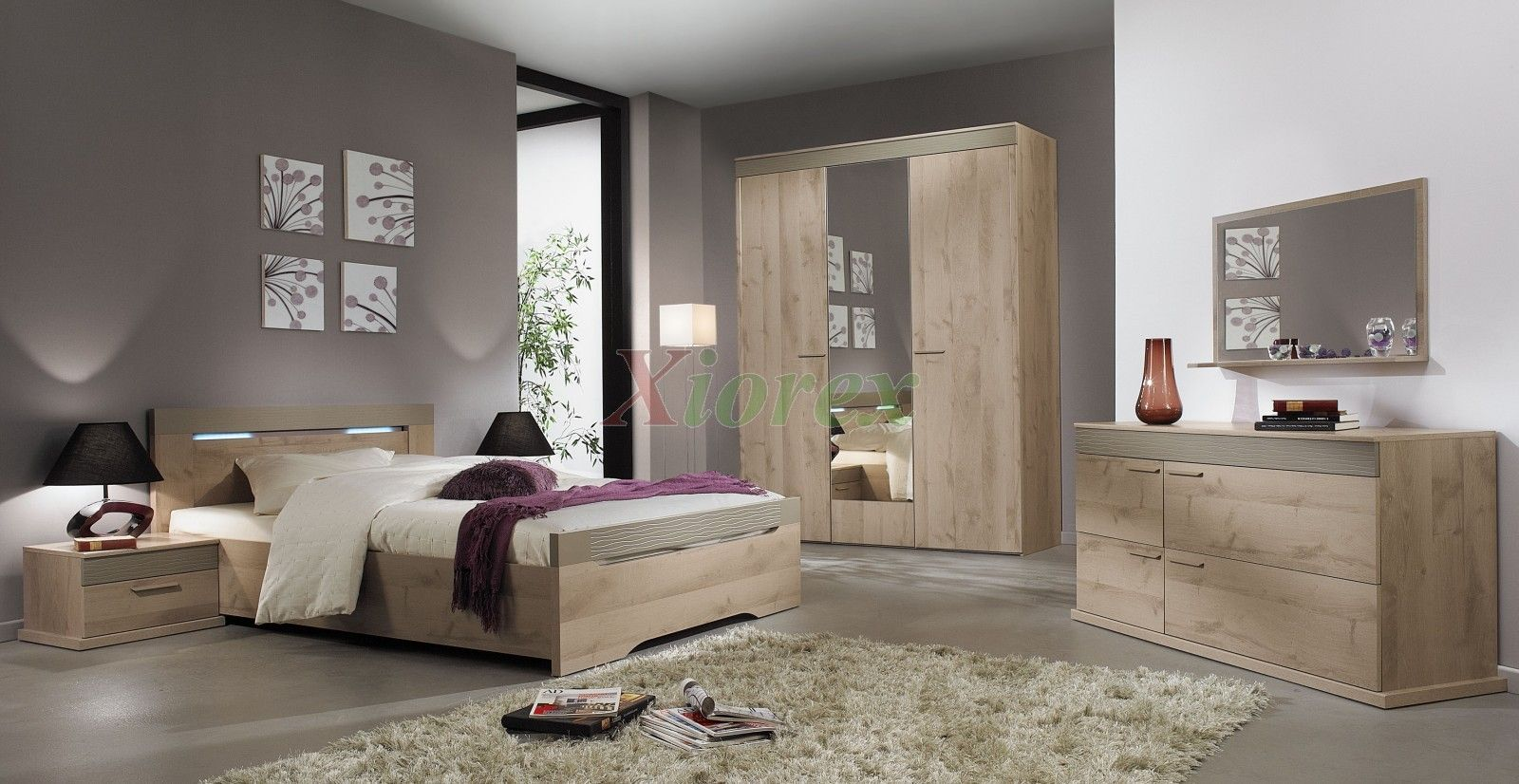 Oak effect bedroom furniture sets - Master Bed Sets Gami Perla Bed Sets By Gautier Come With Modern Master Beds And Enhance Your Bedroom Decor Perla Bed Sets In Plum And Taupe Oak Effect
