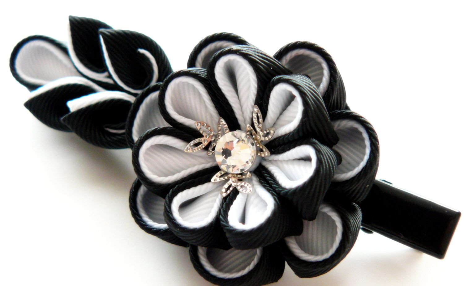 Kanzashi Fabric Flower Hair Clip Black And White Kanzashi
