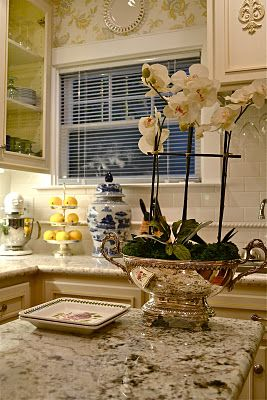 Beautiful Silver Planter With Orchid Vignettes Amp Table