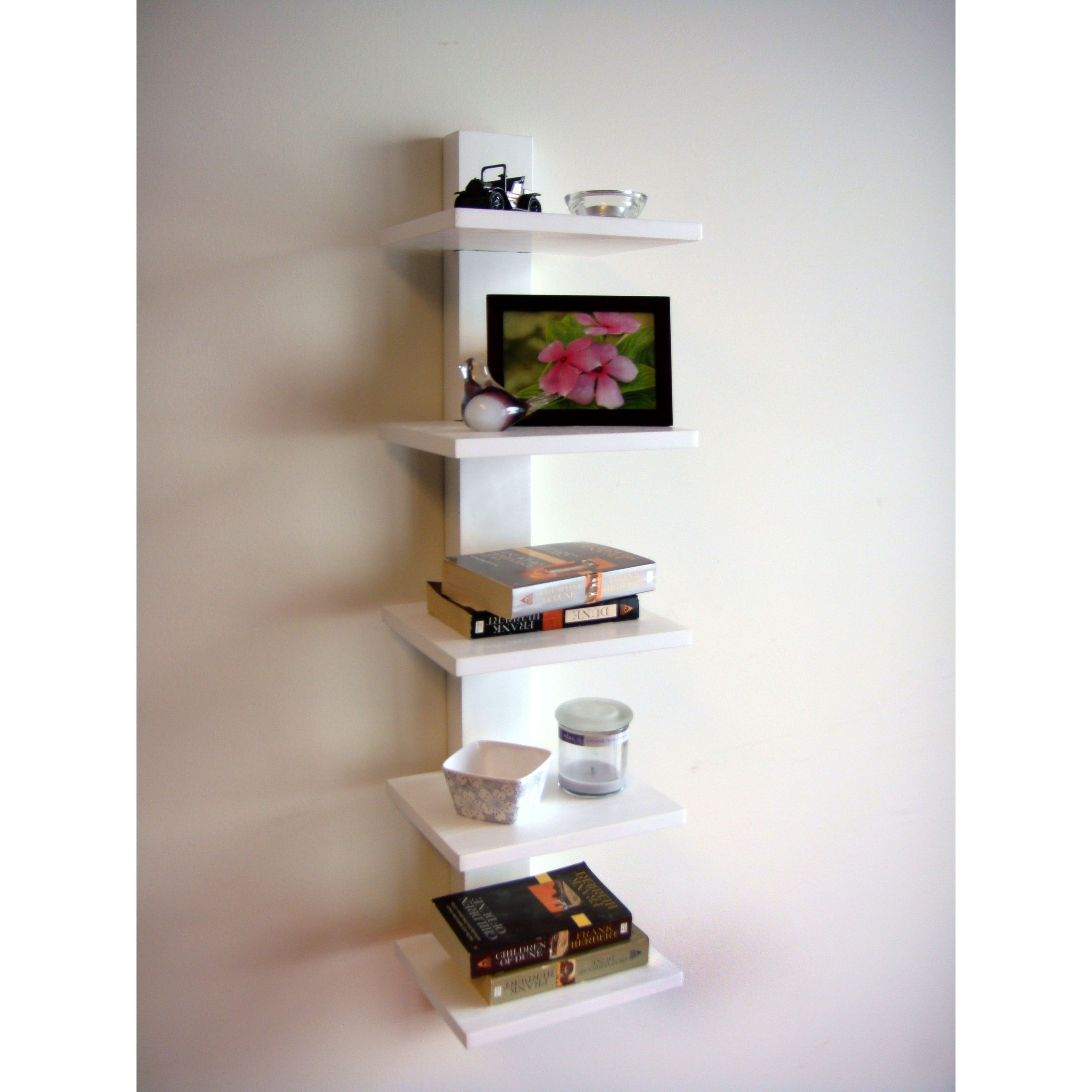 Spine Wall White Book Shelves By Proman Wall Mounted