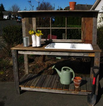 Garden Potting Bench | Potting Bench with Sink Rustic Window Sink P.B. –  Dream Garden .